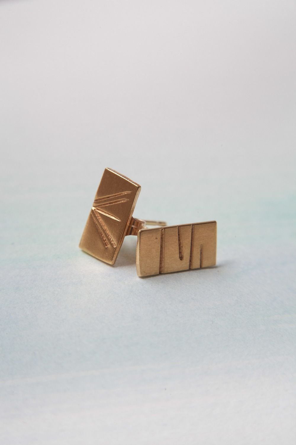 Stamped Studs In Desert Gold: $60