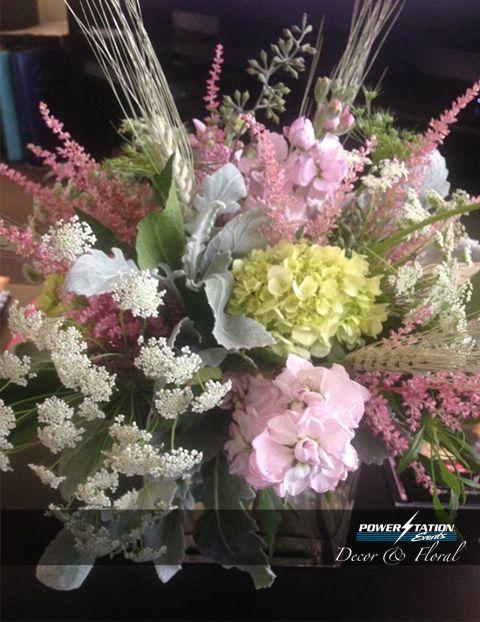 An elegant rustic floral arrangement.