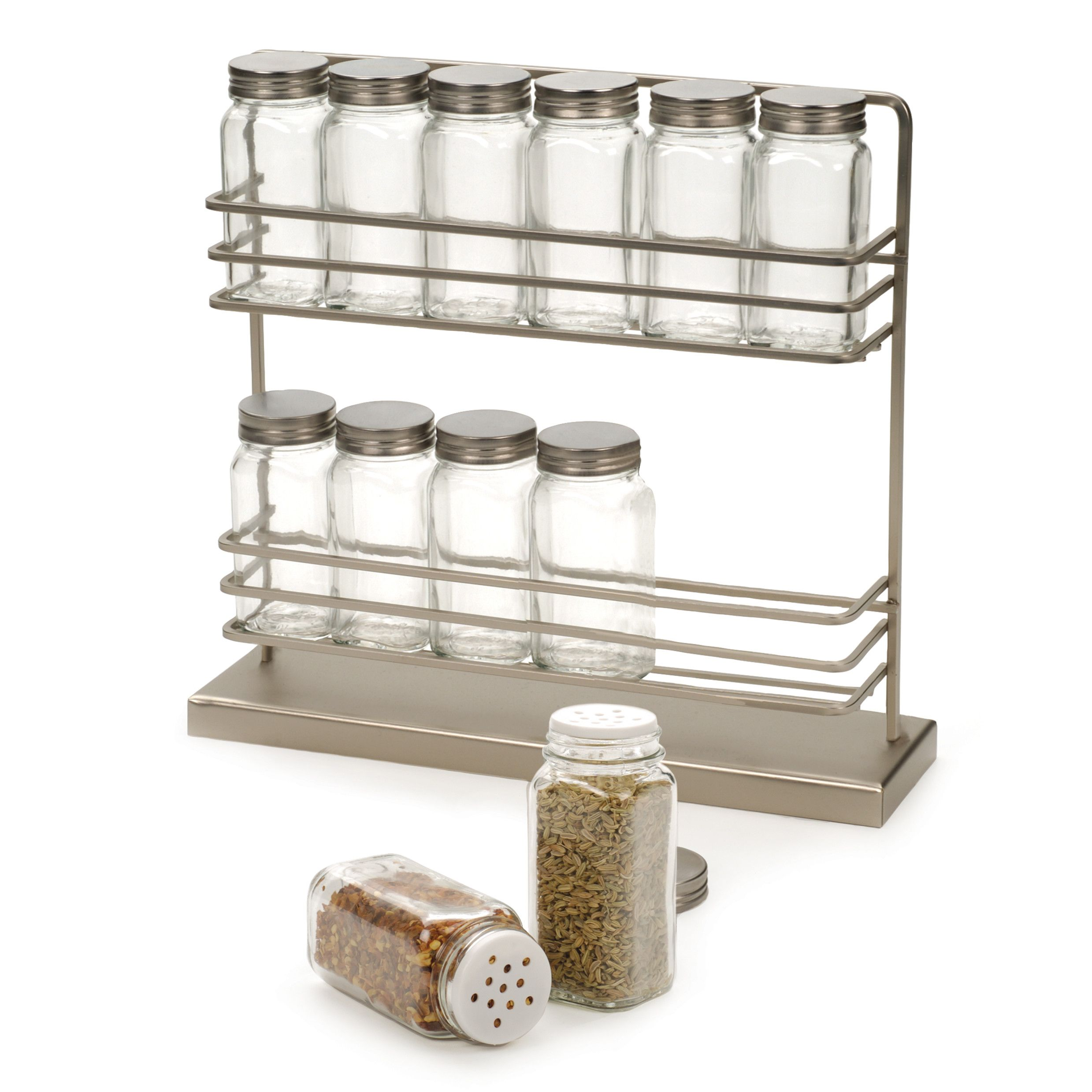 Rsvp Intl 13 Piece 2 Tier Counter Spice Rack Set Countertop Spice Rack Spice Rack Wooden Spice Rack