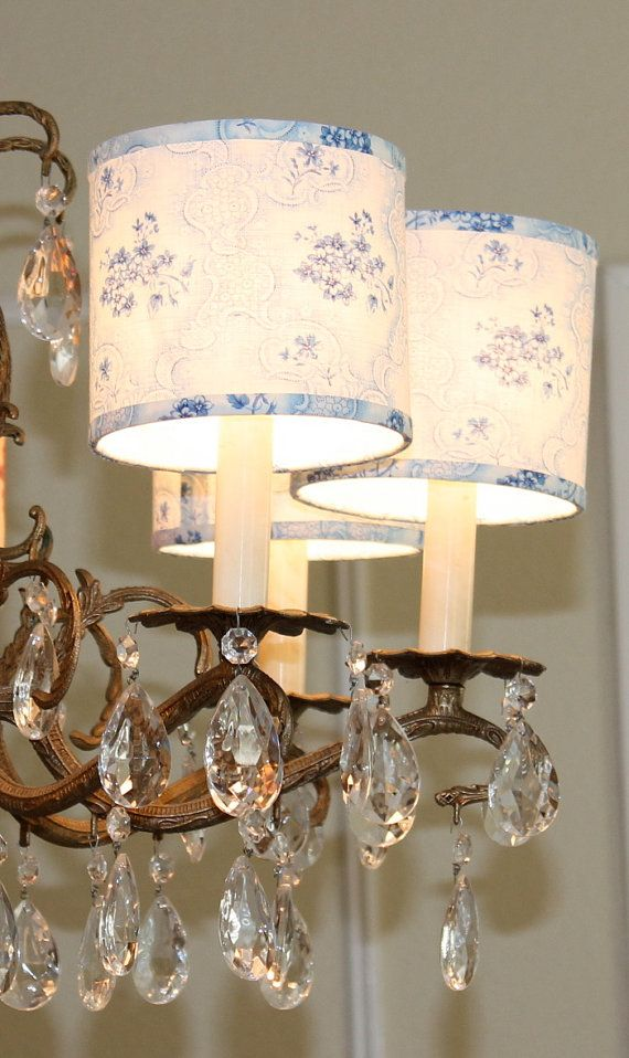 Dainty Blue Floral Chandelier Shades by Sassyshades on Etsy ...