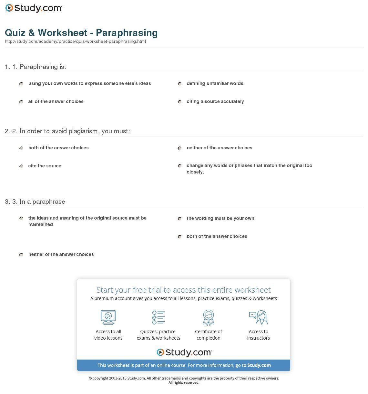 Paraphrasing Worksheets Middle School Paraphrasing