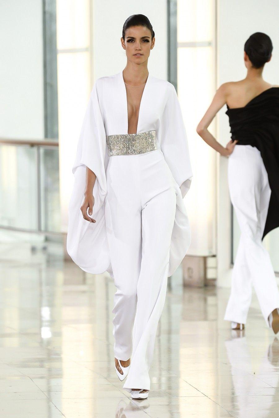 stephane rolland combinaison pantalon en cr pe drap blanc brod mode femme. Black Bedroom Furniture Sets. Home Design Ideas