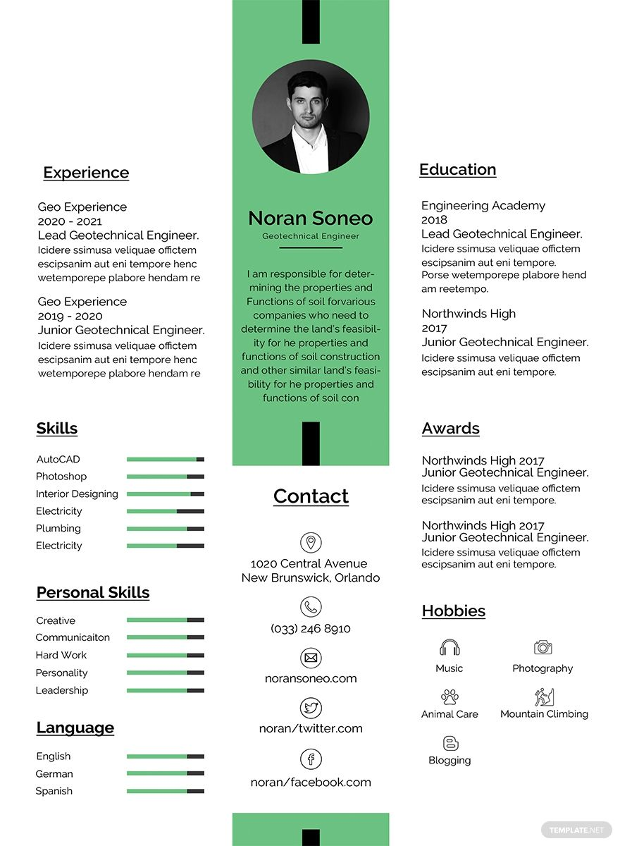 Free Geotechnical Engineer Resume Cv Template Word Doc Psd Apple Mac Pages Publisher Resume Examples Resume Design Template Resume Template