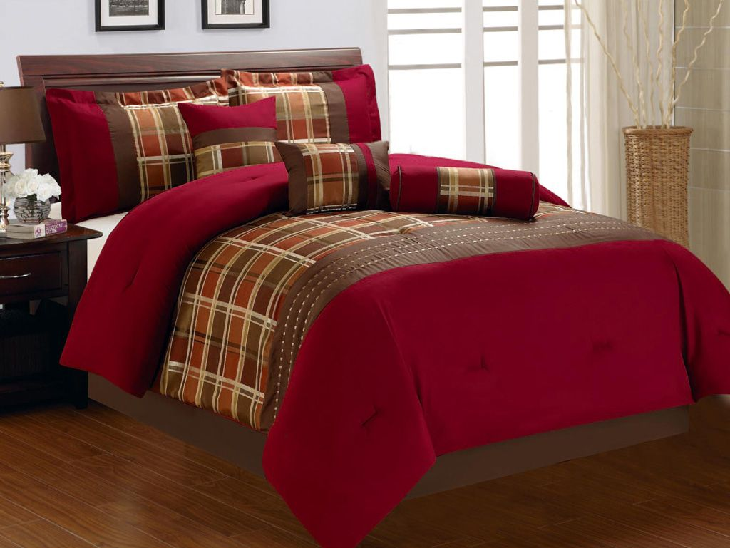 Red and brown plaid bedding - 7 Piece Cal King Burgundy And Brown Plaid Comforter Set