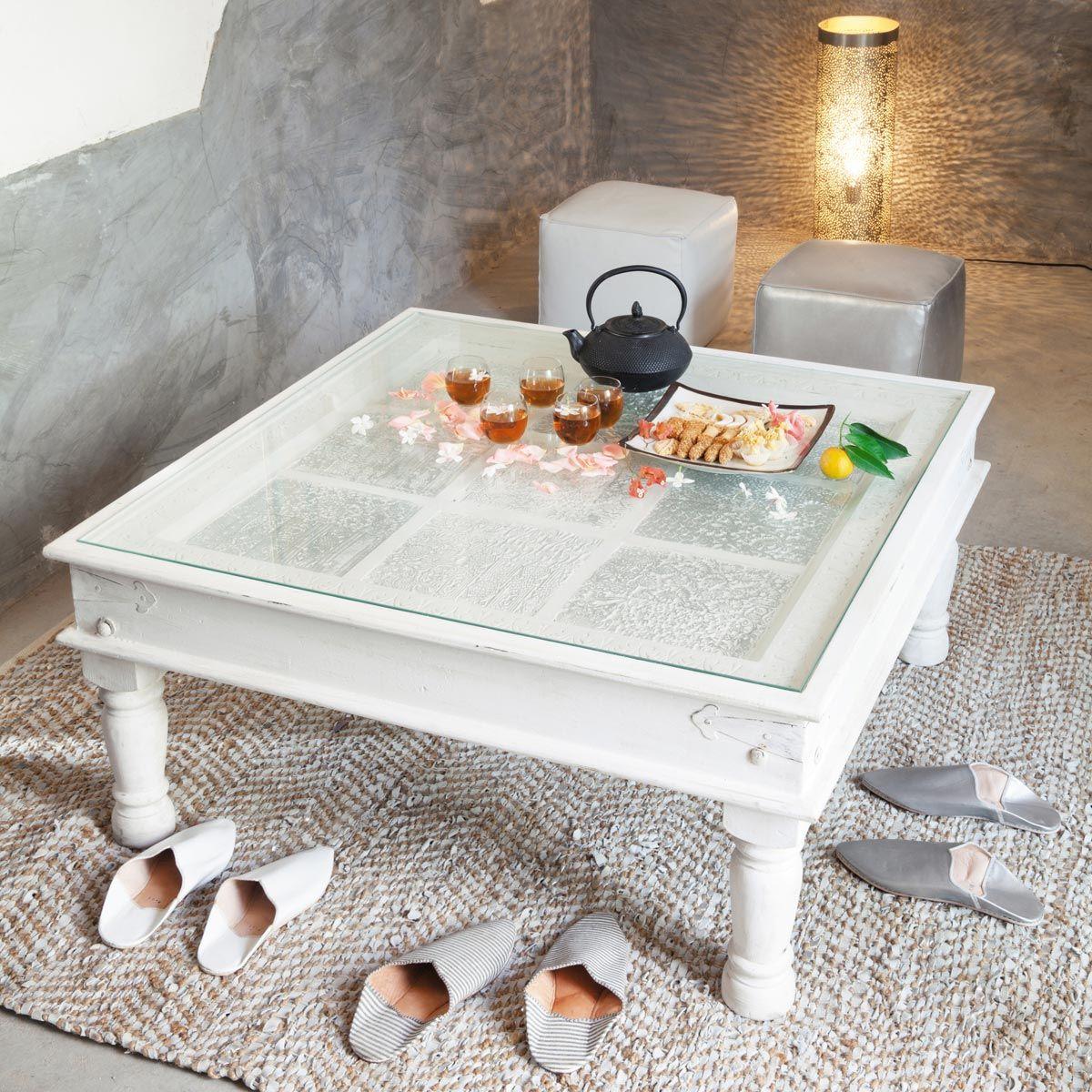 table basse indienne en manguier massif blanche l 100 cm. Black Bedroom Furniture Sets. Home Design Ideas
