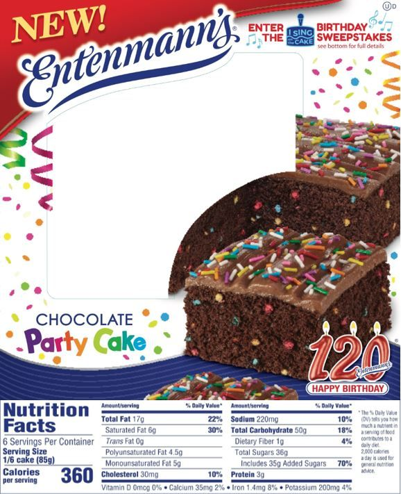 The updated Nutrition Facts label as seen on Entenmanns Chocolate