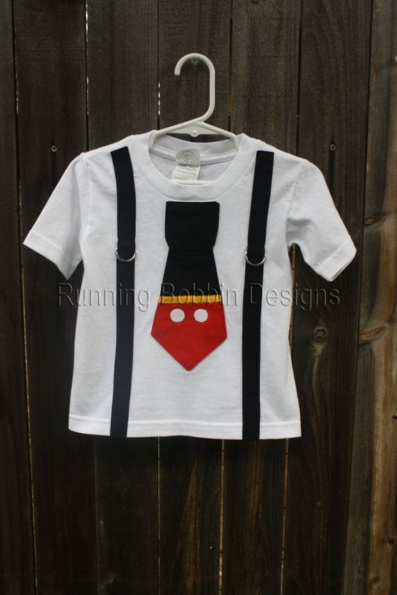 955e73b55 Mickey Mouse Shirt Toddler Tie T Shirt or Baby Boy Onesie with Suspenders  Disney