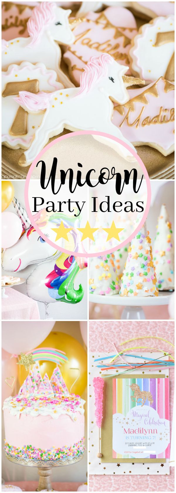 Shimmery pink and gold Unicorn Birthday Party – unicorn party ideas, food and decorations.