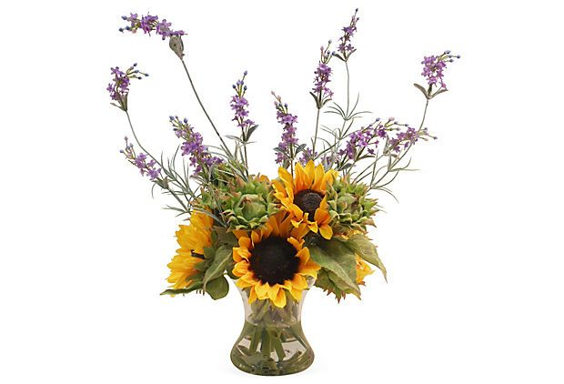 """25"""" Sunflowers & Lavender in Vase, Faux"""