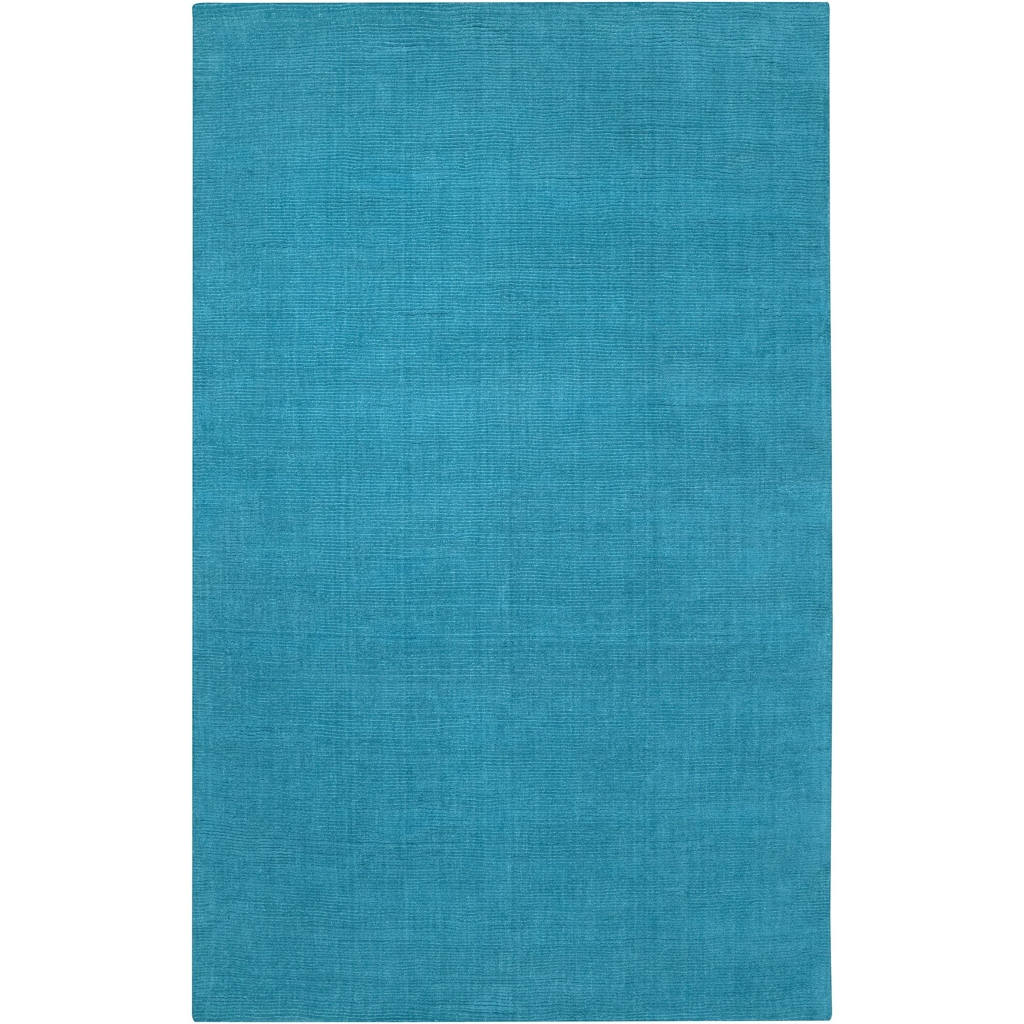 Hand Crafted Teal Blue Solid Casual Ridges Wool Area Rug 7 6 X 9 6 Surplus Wool Area Rugs Colorful Rugs Teal Rug