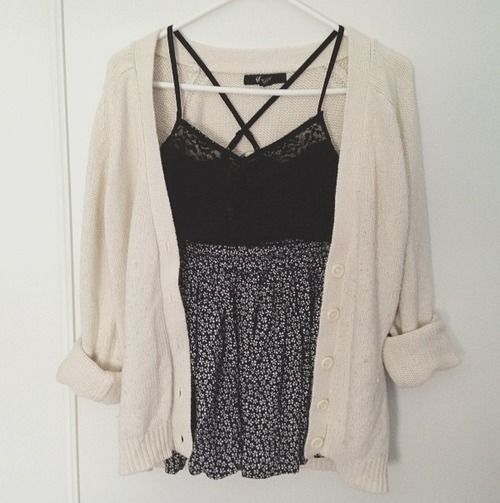 Spring / Summer Outfit - Black Lace Crop Top - Skirt - Cardigan Sweater