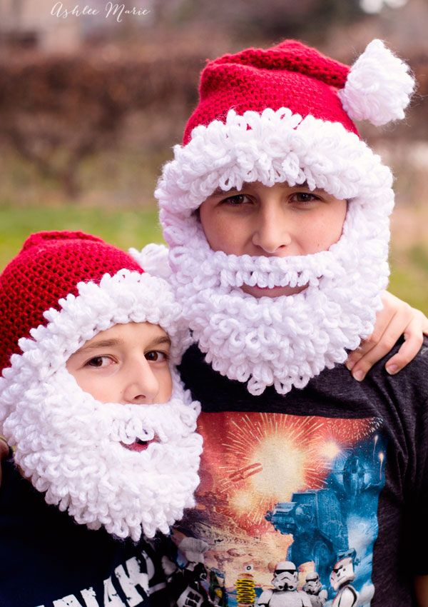 Free Crochet Pattern Double Loop Bearded Santa Hat In All Sizes