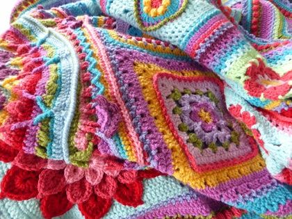Magnificent handmade crochet blanket, mixed squares in bright colours, amazing centrepiece ...