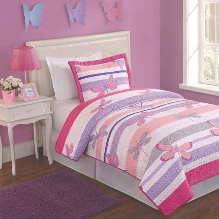 Pretty Dragonflies Twin Quilt With Pillow Sham Rosenberryrooms Kids Comforters Kids Bedding Sets Kid Beds