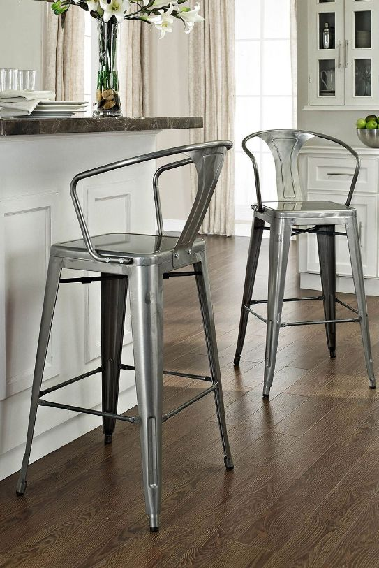 The Galvanized Amelia Metal Cafe Barstools Were Originally Made Famous In The Quaint Bistros Of France This With Images Metal Bar Stools Bar Stools With Backs Bar Stools