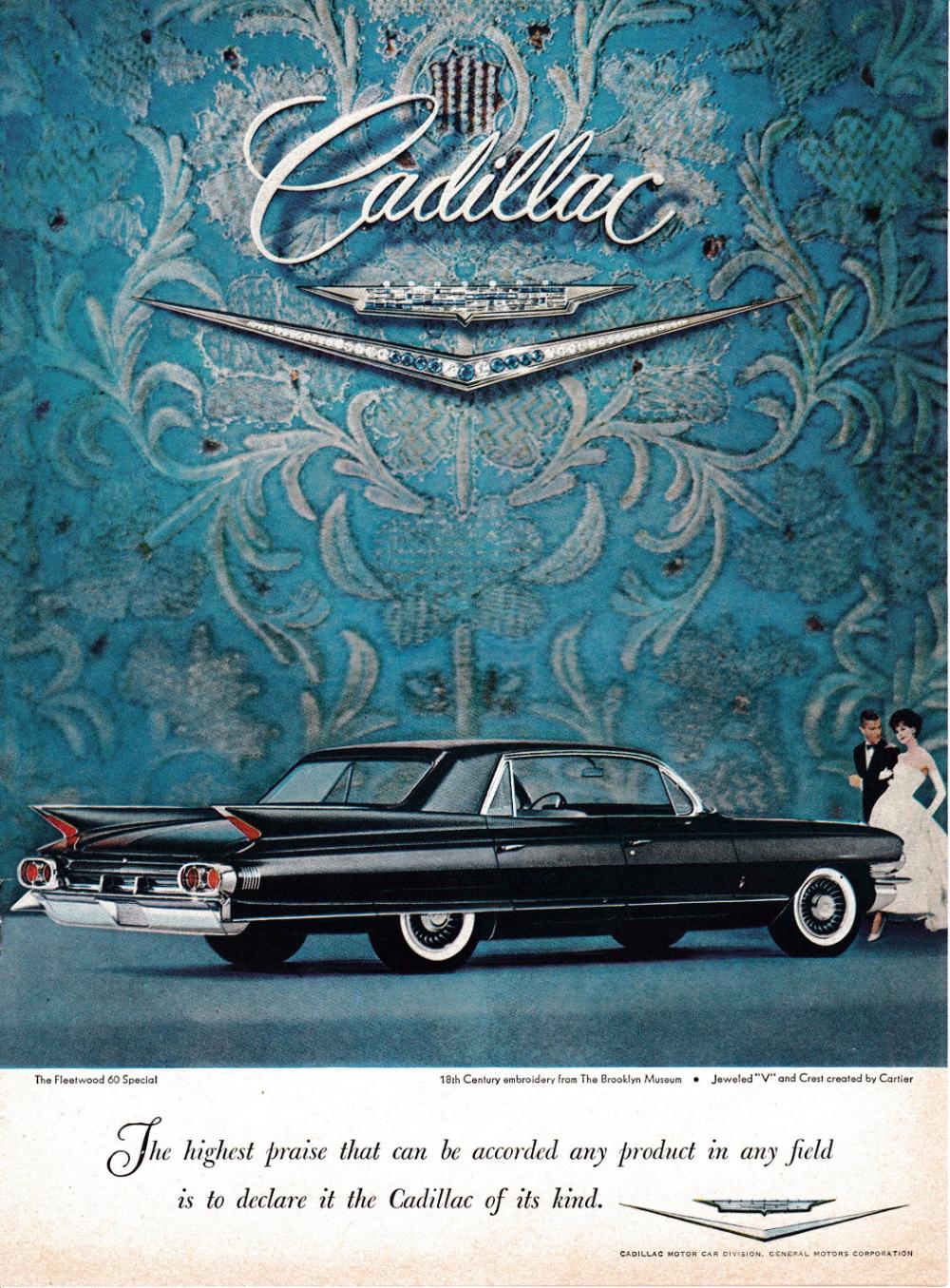 "1962 Cadillac Fleetwood Sixty Special-Jeweled V-Original Print Ad 8.5 x 11/"""