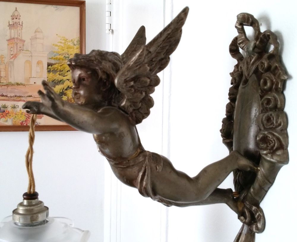Vintage french sconces fixture chandelier angel cherub antique vintage french sconces fixture chandelier angel cherub antique shabby pendant arubaitofo Gallery
