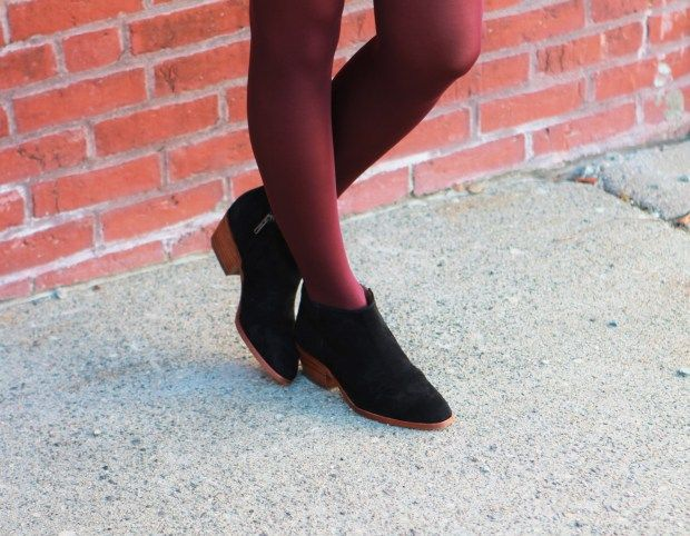 Black suede booties + spiced wine tights