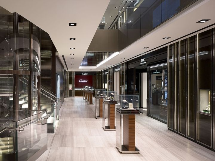 Watches of switzerland landmark flagship store by for Retail interior designers in london