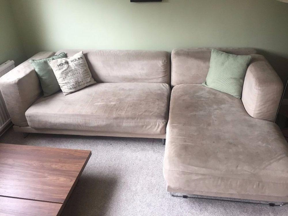 Ikea Tylosand 3 Seat Corner Sofa Chaise Long Micro Suede