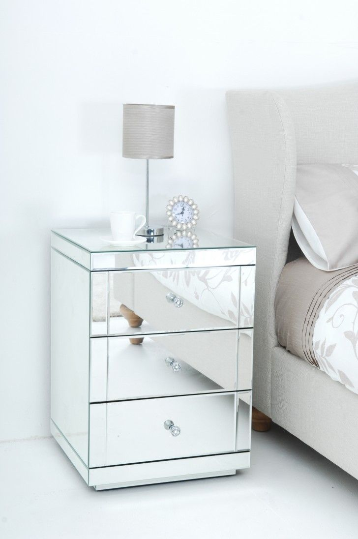 Impressive Silver Mirrored Nightstand Table With Small Brown Shade