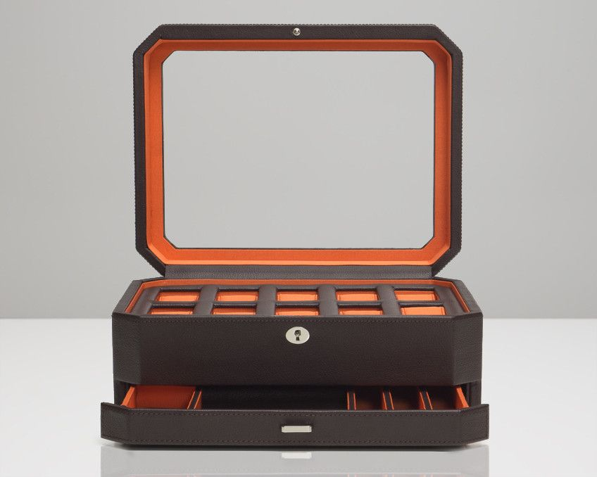 Wolf 458606 Windsor 10 Piece Watch Box With Drawer Brown Orange Jewelry Drawer Mens Watch Box Watch Box