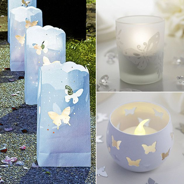 paper lanterns candle holders butterfly wedding theme