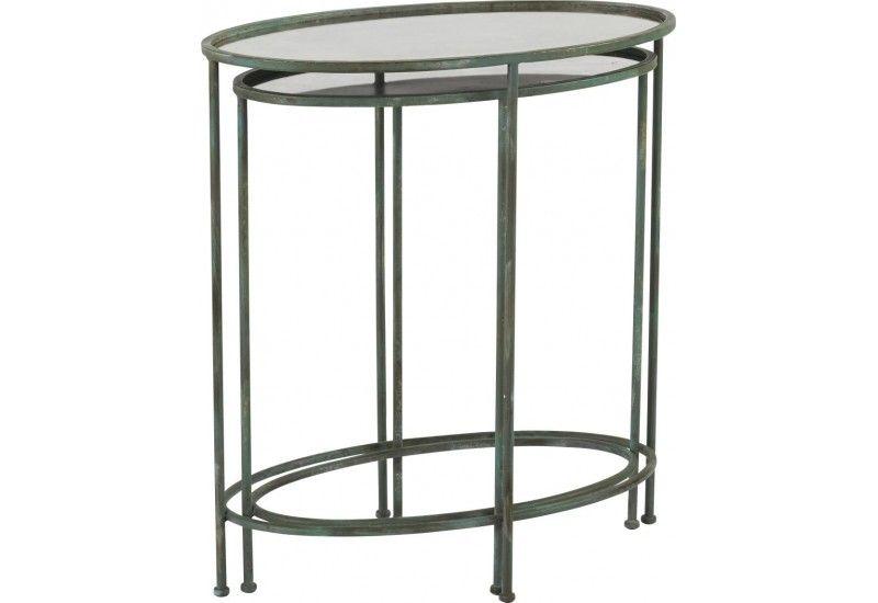 Set de 2 sellettes Ovales Miroir et métal noir 645x38xH715cm en - Porte Serviette A Poser