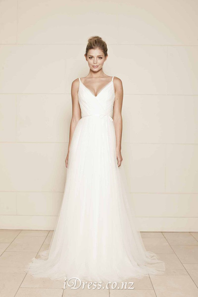 c28df6dff6b5 A-line V-neckline Sleeveless Romantic Simple Tulle Wedding Dress in ...