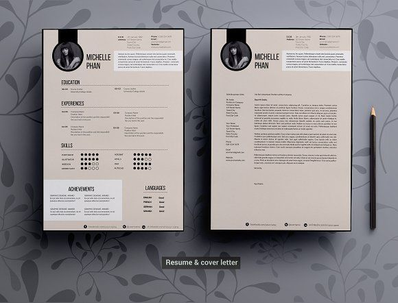 Modern Elegant Cv Template By Chic Templates On Creativemarket