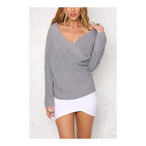 Yoins Light Grey Sexy Off Shoulder Wrapped Sweater 29 Liked On