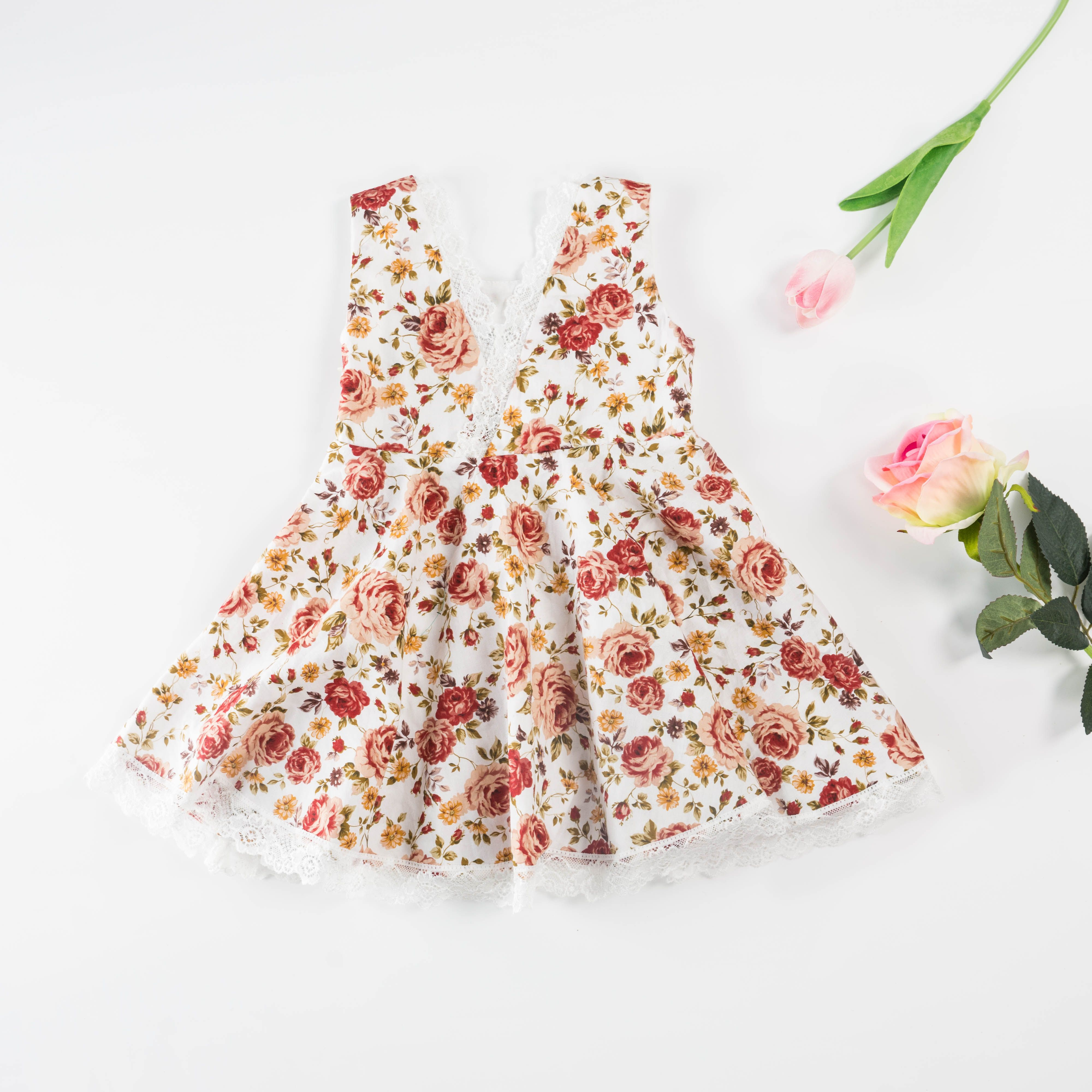 ad60f00ef60 Check out my new Pretty Floral Cinched Sleeveless Dress in White for Baby  and Toddler Girl