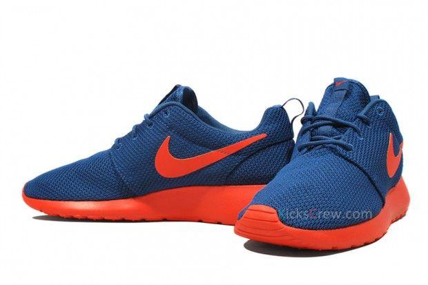 Men's - Nike Roshe Run Dark Royal / Team Orange-Volt Shoes