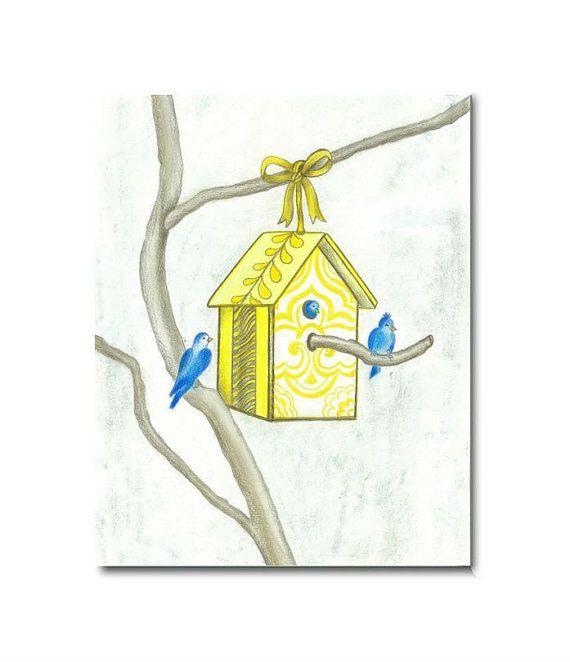 Yellow Birds house Nursery Wall Art, Nursery Decor, Print 8x10, Baby ...