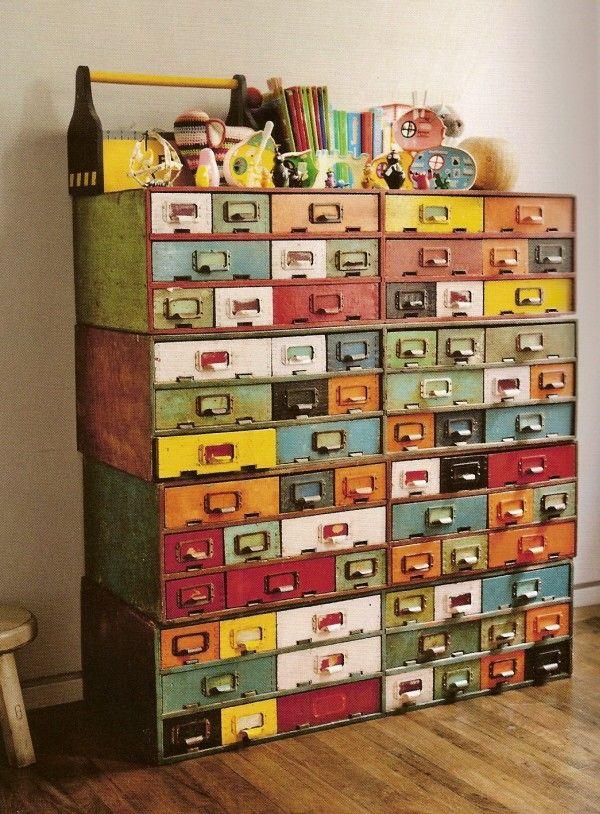 multicolor metal drawers