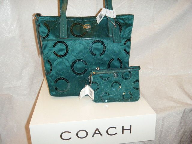 2 pc Coach Signature Stripe Sequin Tote & Wristlet. Starting at $40 on Tophatter.com!