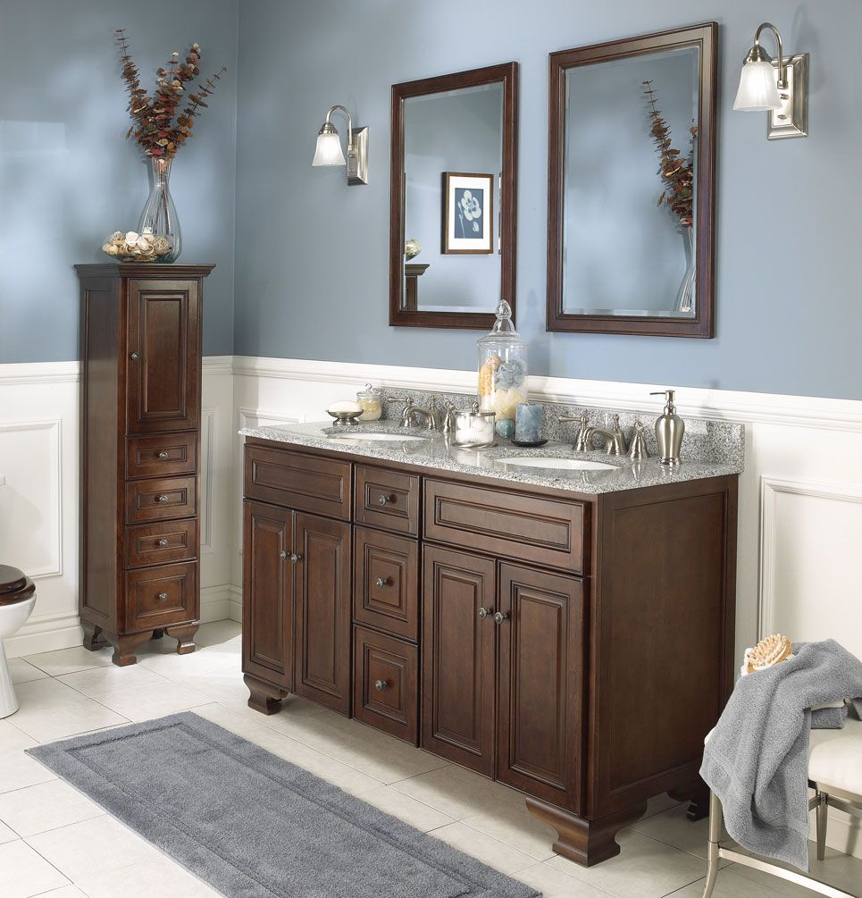 Bathroom Simple Grey Rug With Wooden Bathroom Vanity Cabinets Near Blue  Wall Paint Color Get Classy