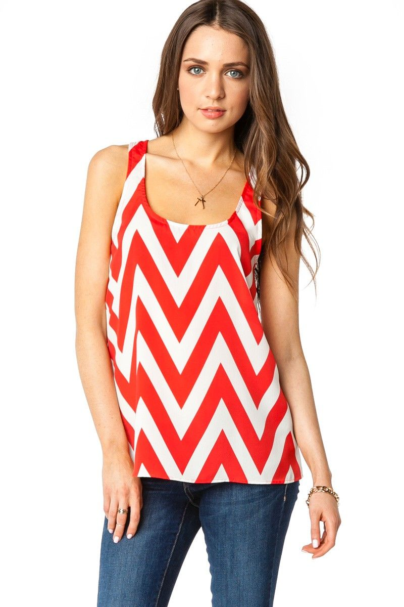 Forever Zig Zag Racerback Tank in Red / ShopSosie #Red #White #Chevron #Print #Tank #Top #ShopSosie