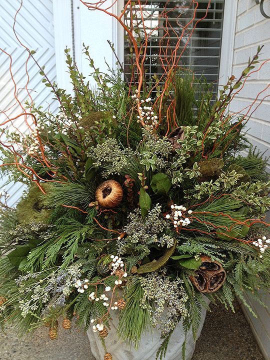 winter pot in neutrals pretty for fall thanksgiving and christmas