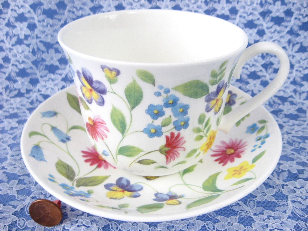 Roy Kirkham Chatsworth Breakfast Size Floral Chintz Cup And Saucer English Bone China