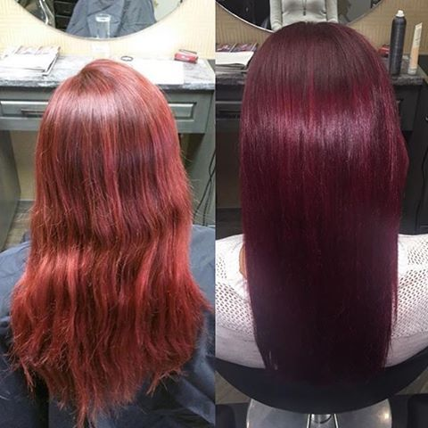 Redbloom Salon On Instagram From Faded Red To Shiny Maroon Hair By Graduate Stylist Nicole Nicoleashely21 Beforeandaft Maroon Hair Hair Hair Color Pastel