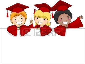 graduacion: Ilustración de niños posando Behing una gran bandera