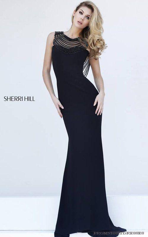 Beaded Straps Black Sherri Hill 32292 Jersey Prom Dress