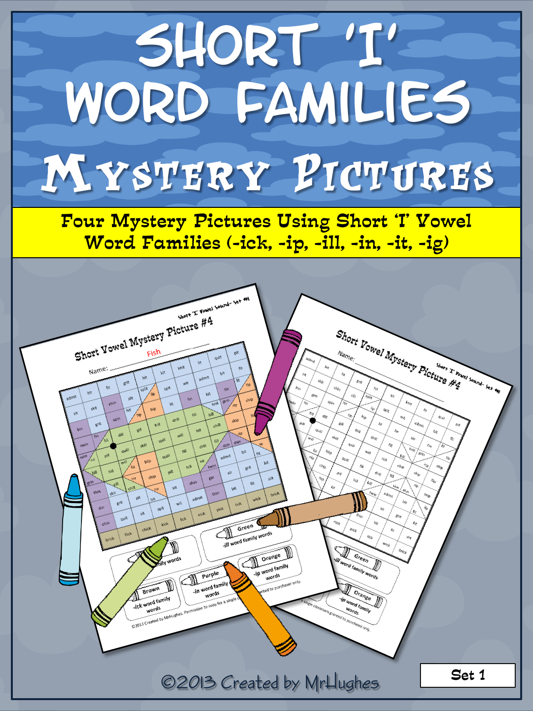 Short I Vowel Word Families Mystery Pictures