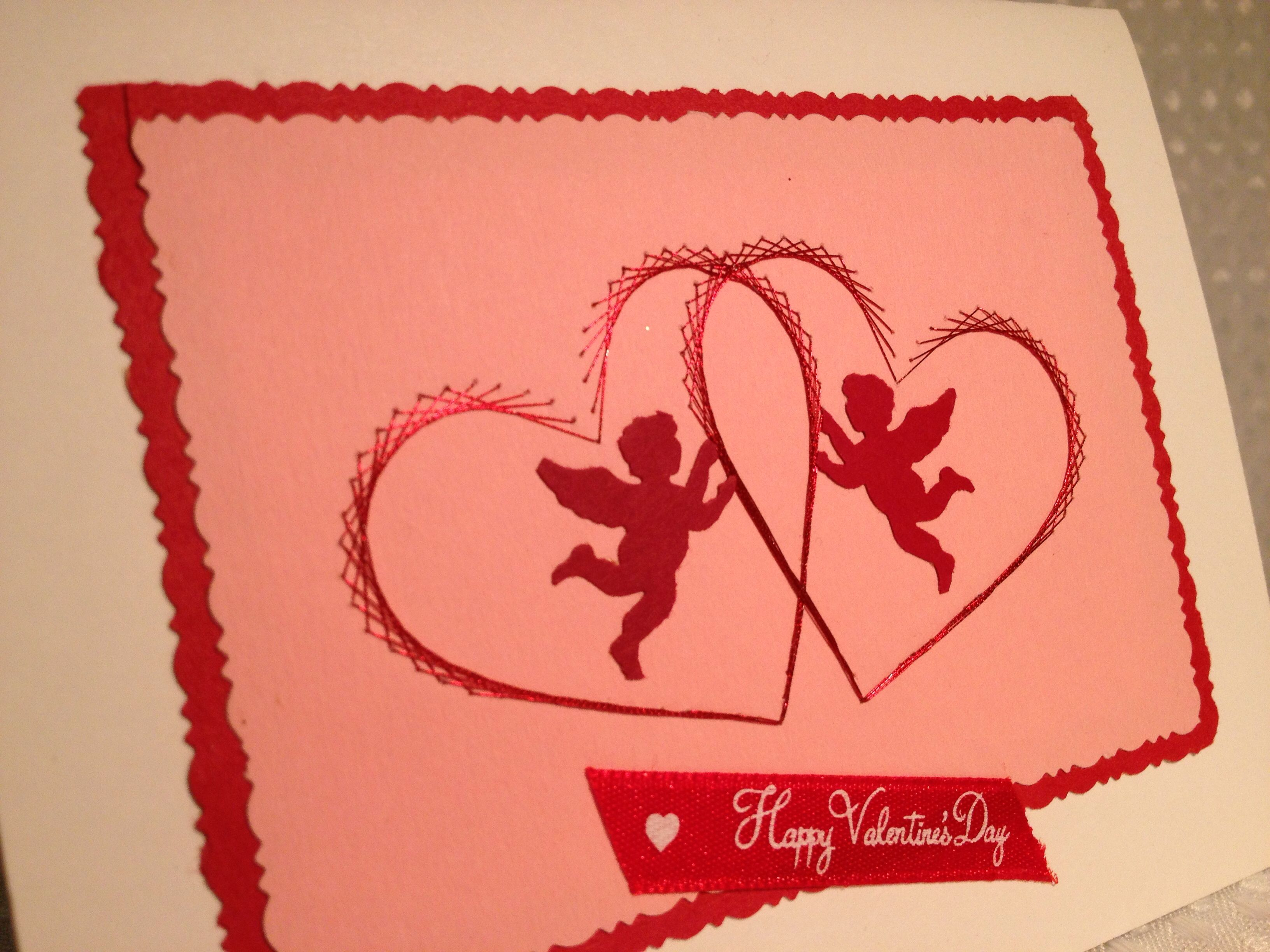 Stitched valentines card with Cupid