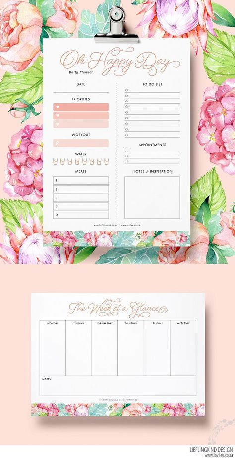 Download daily and weekly free planner printables Planners, Weekly