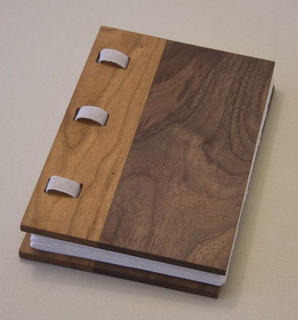 Wood Covered Book ~ Black walnut and cherry wood covered book wooden