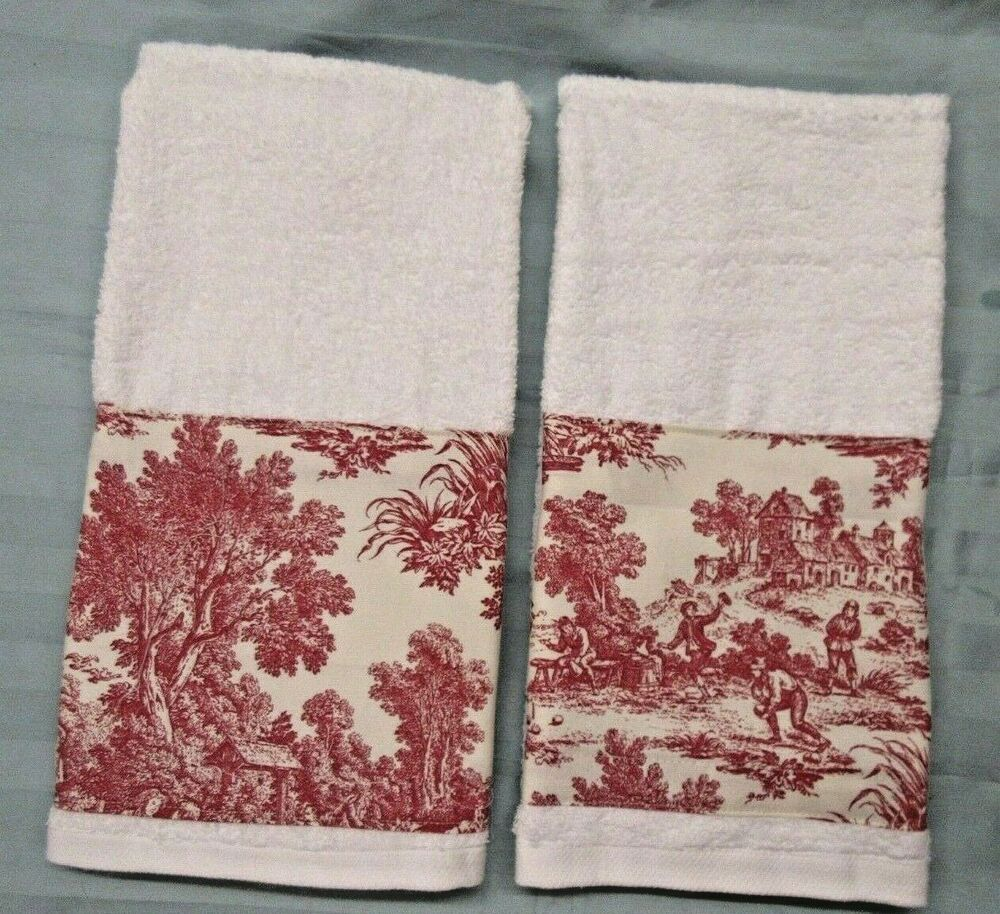 St Moritz White Hand Towels Xtra Large 17x29 Waverly Red Toile