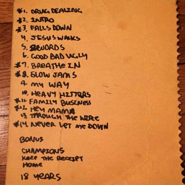 Consequence Unearthed Kanye West S Handwritten Tracklist For The College Dropout Dropout Kanye Kanye West