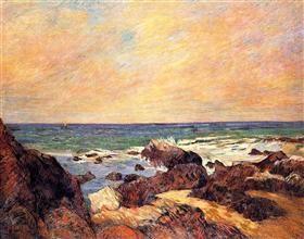 Rocks and sea - Paul Gauguin